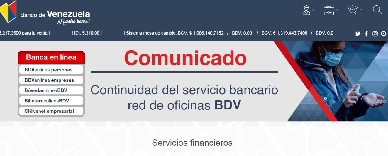 bdv en linea del banco de venezuela